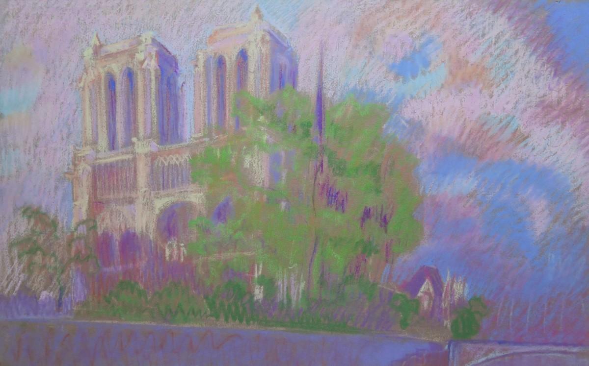 Notre-Dame, ciel rose by LECOULTRE John-Francis (1905-1990)