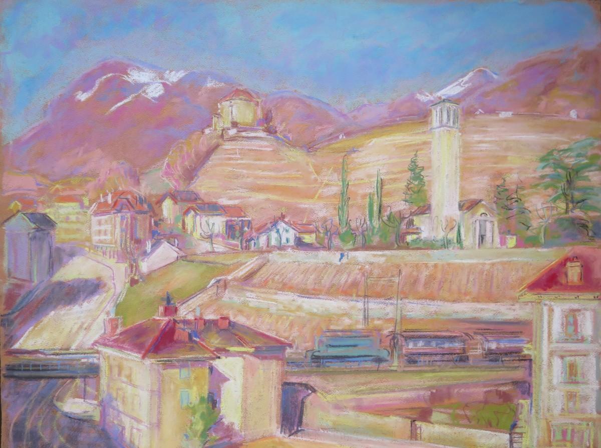 Clarens, le château du Châtelard et le Temple by LECOULTRE John-Francis (1905-1990)