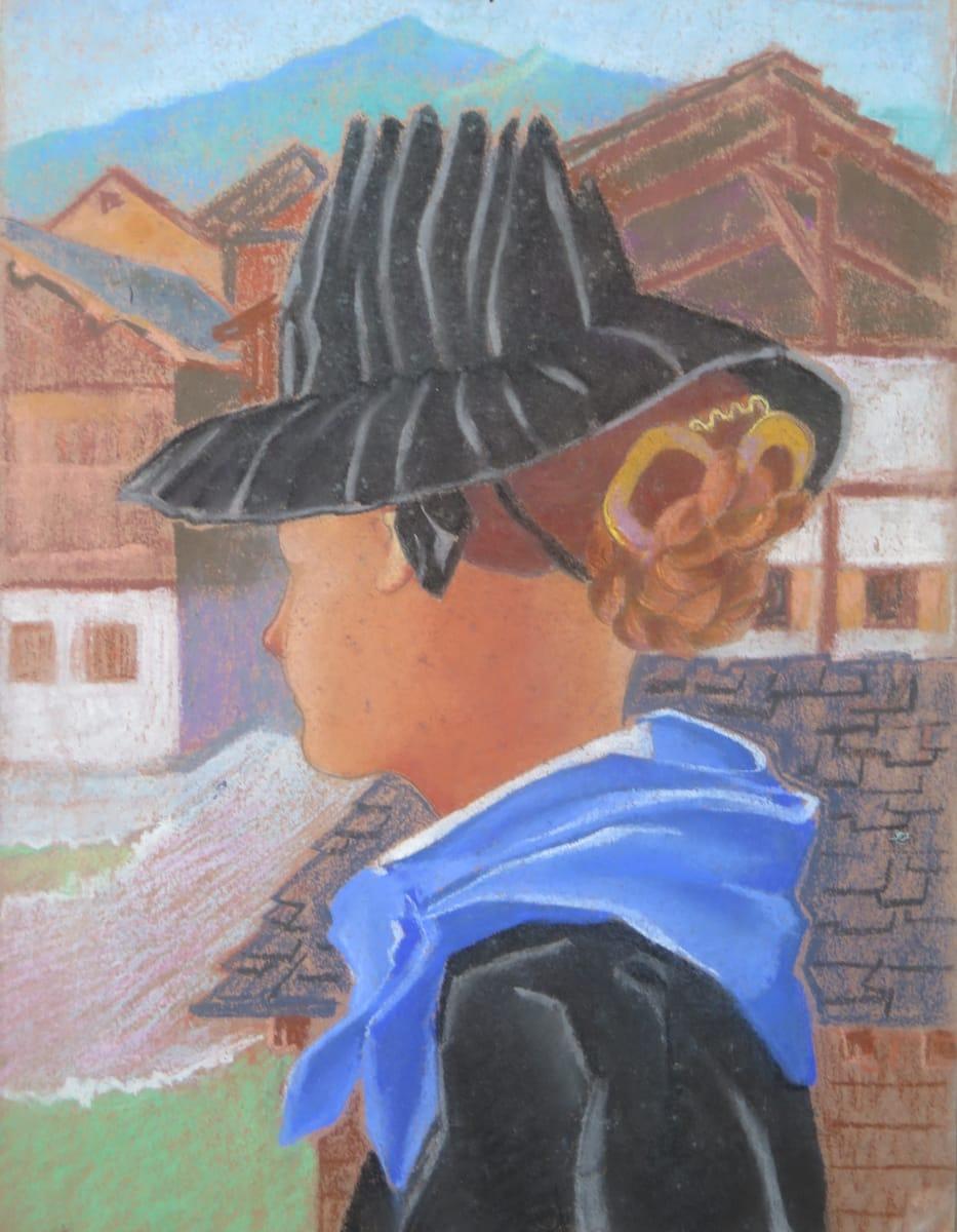 Jeune Saviésanne  au foulard bleu by LECOULTRE John-Francis (1905-1990)