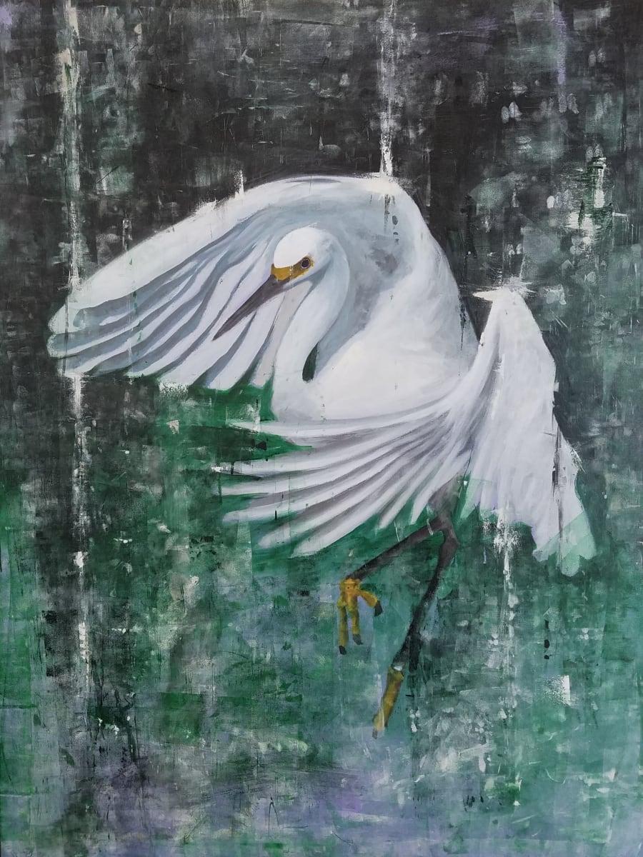 Egret in Green by Lucas Menard