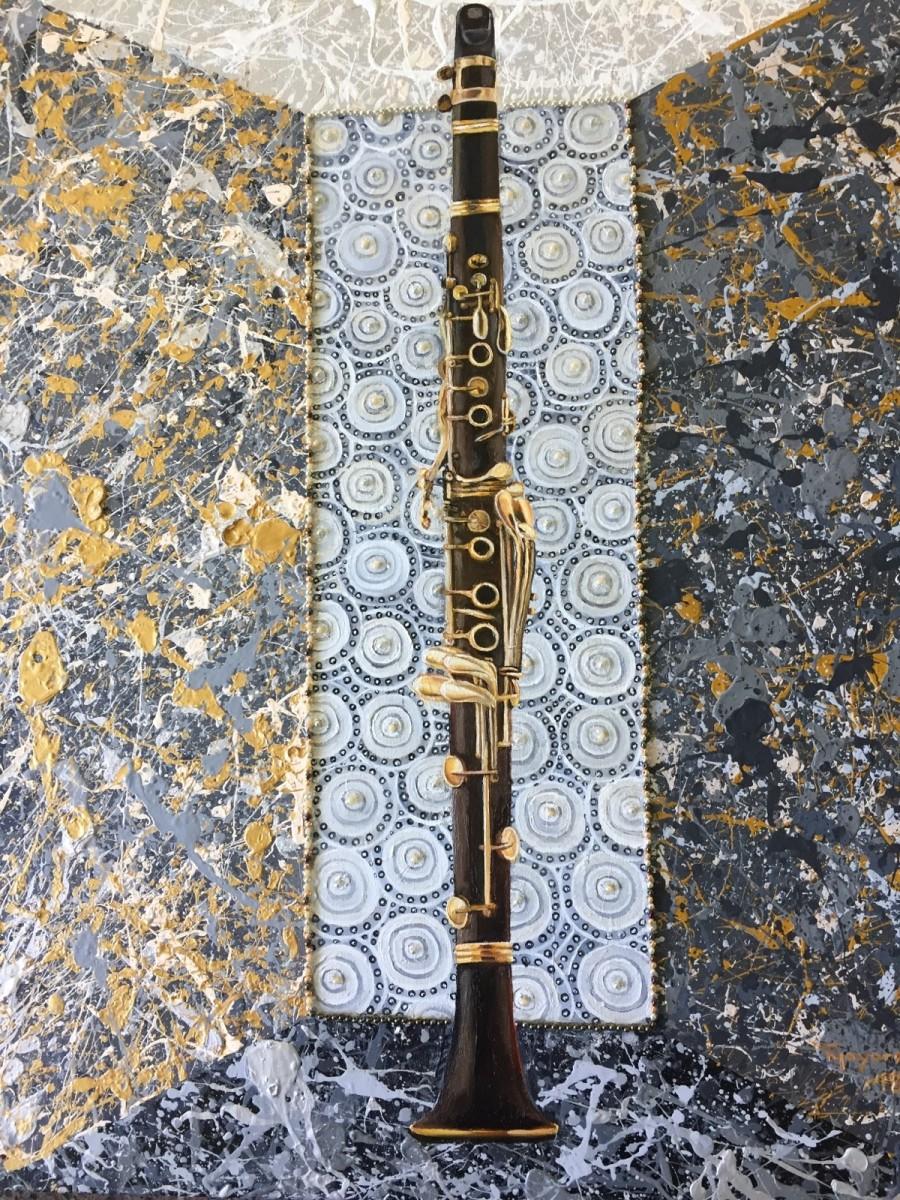 Clarinet in  a Mellow Joy Splattered Box by Tony Mayard