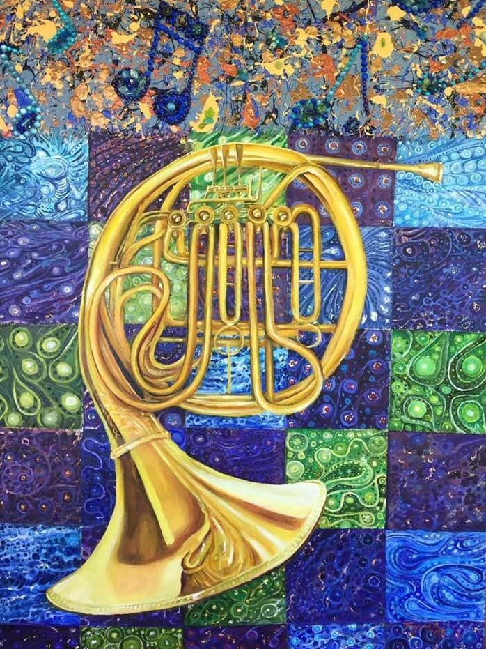 French Horn with Blue Note Border by Tony Mayard