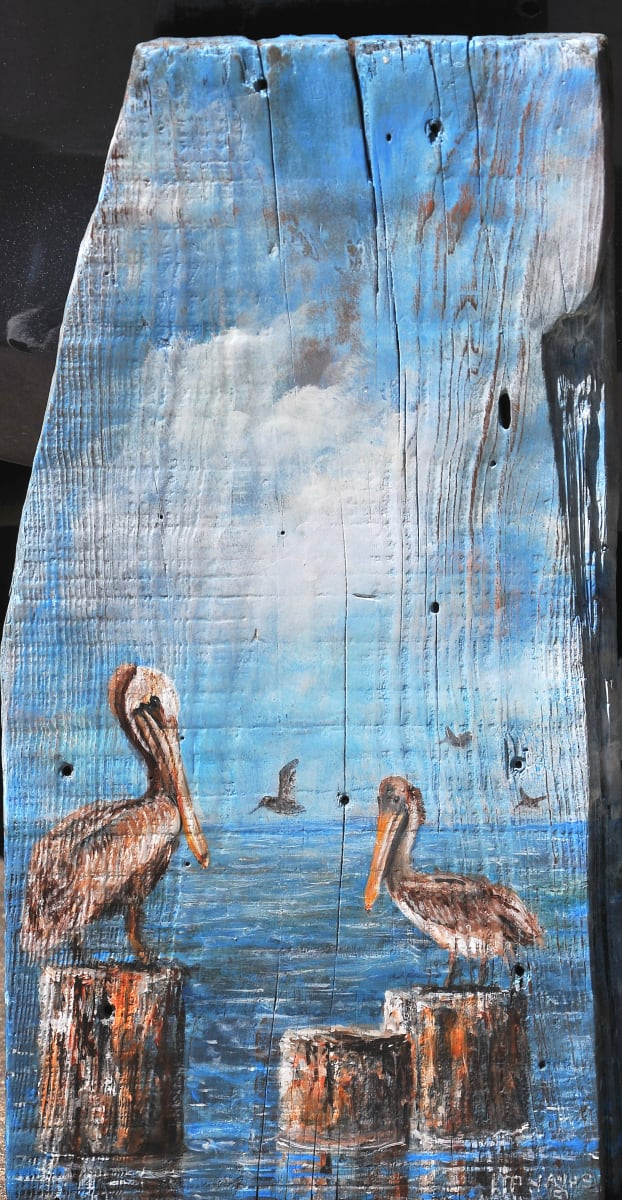 """Sitting at the Dock (Pelicans) by Larry """"Kip"""" Hayes"""