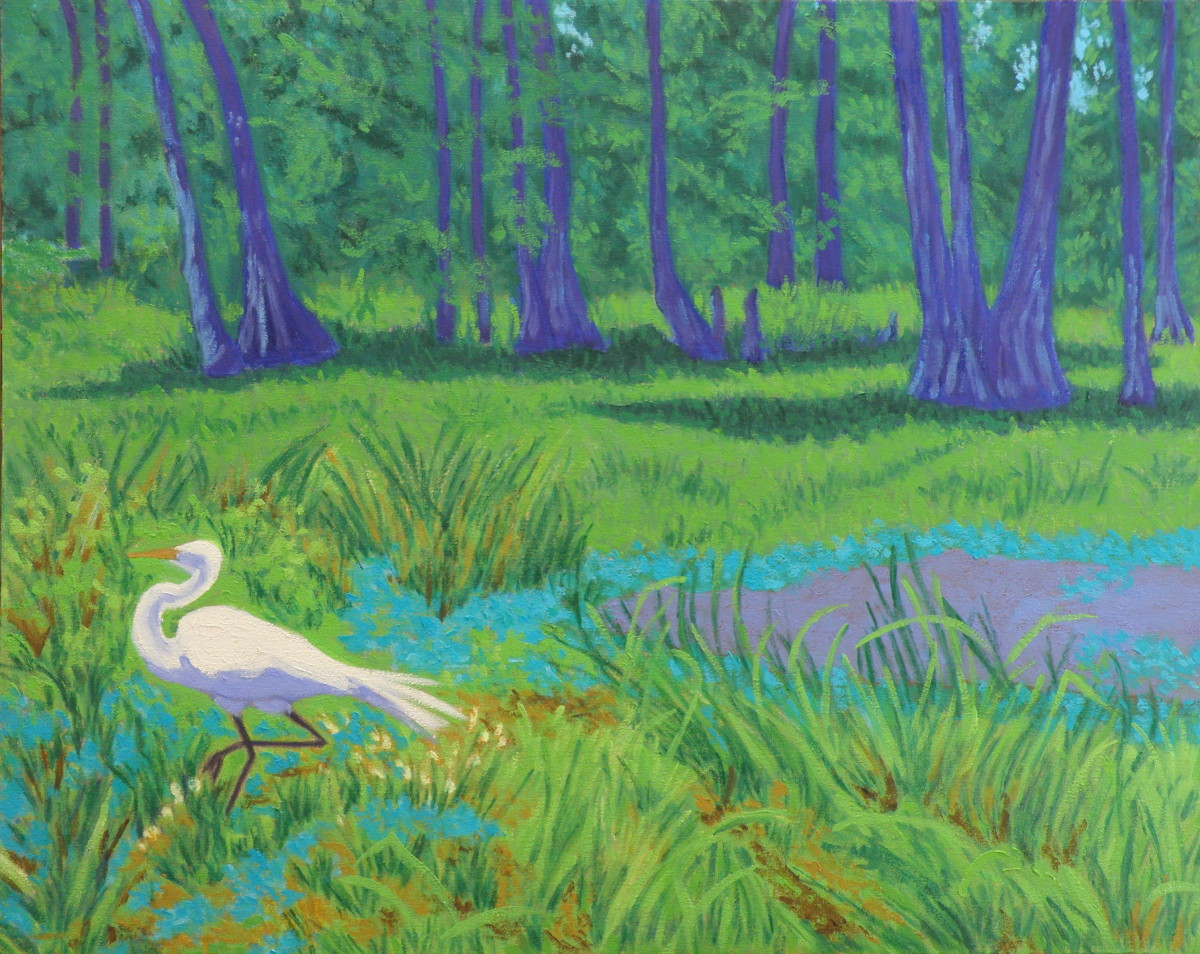 Prancing Egret, Lake Martin by Peggy Walters