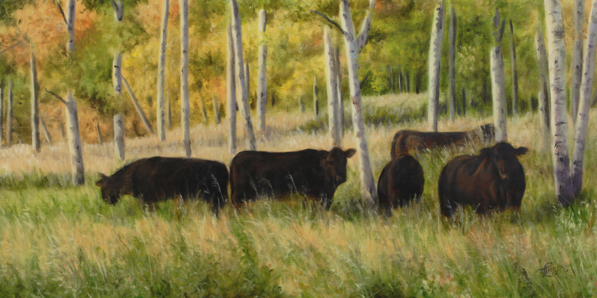 Black Angus Grazing by Tammy Taylor