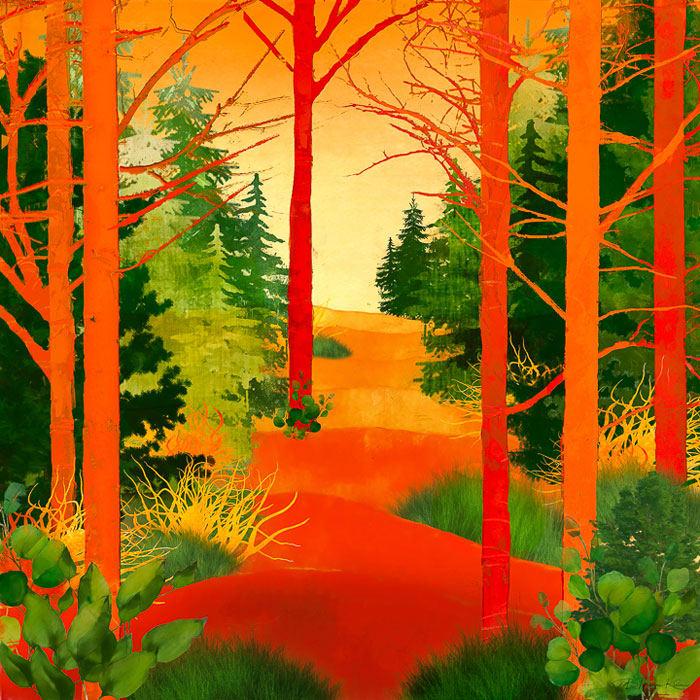 "10th Place – Overall - Barbara Mierau-Klein - ""Red and Green Trees"" – www.barbaramierauklein.com by Barbara Mierau-Klein"