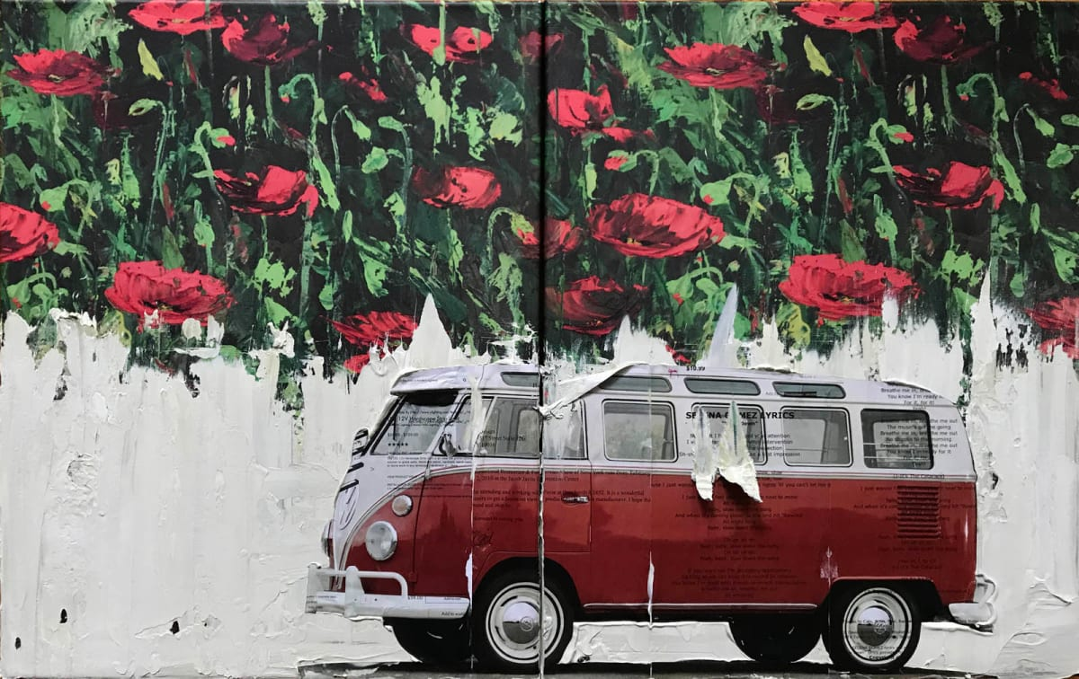 VW Van Red on Poppies A1 by Tina Psoinos