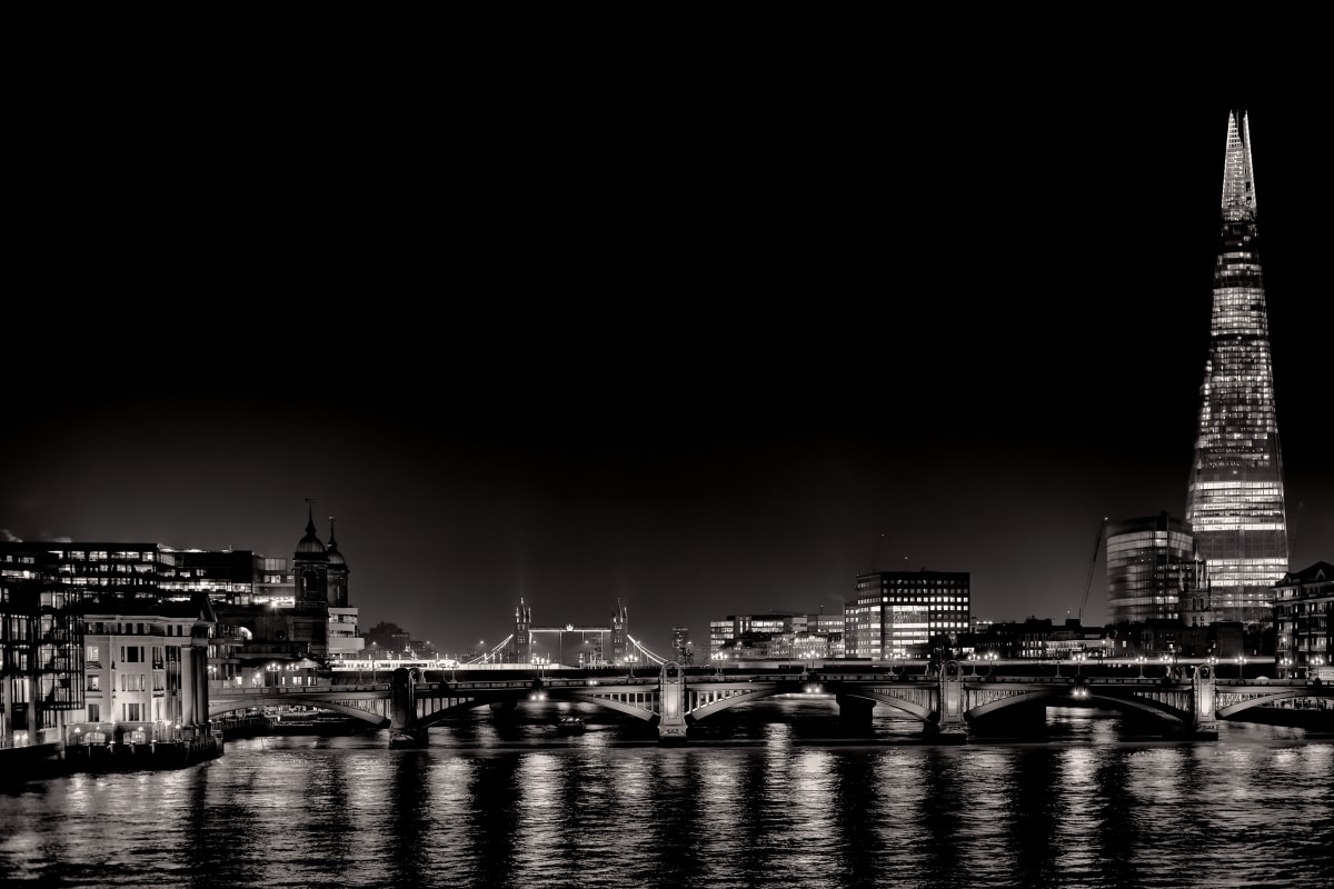 Night Lights - BW #1 of 15 by Kent Burkhardsmeier
