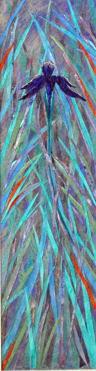 Wild Iris with Leaves of Grass (Framed Original)