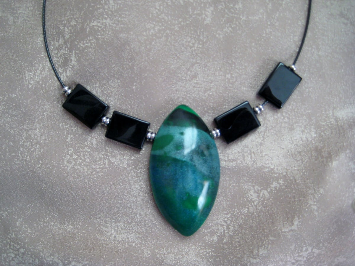 Green Marquise Necklace by Charmaine Harbort