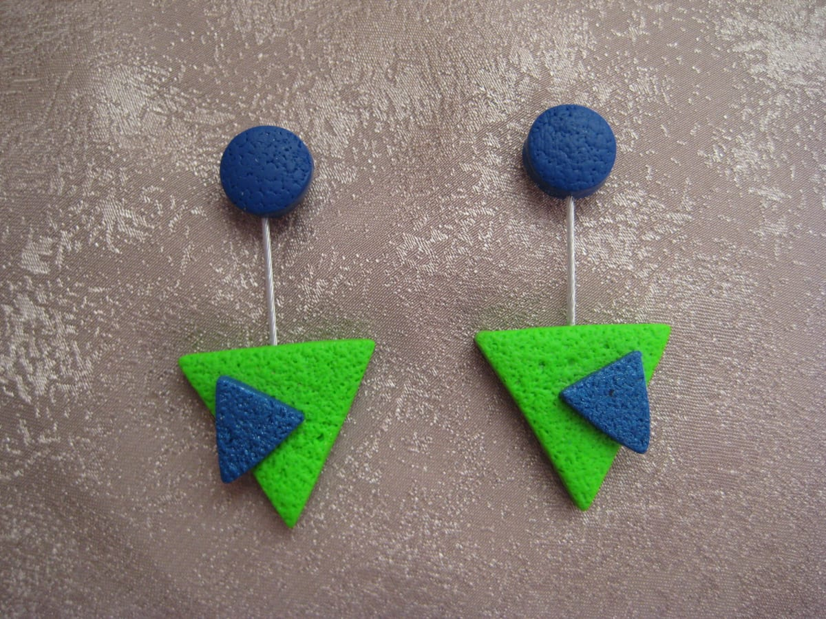Green/Blue Triangle Earrings by Charmaine Harbort