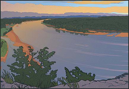 Ferry Bluff Up River (Unframed print) by John Miller