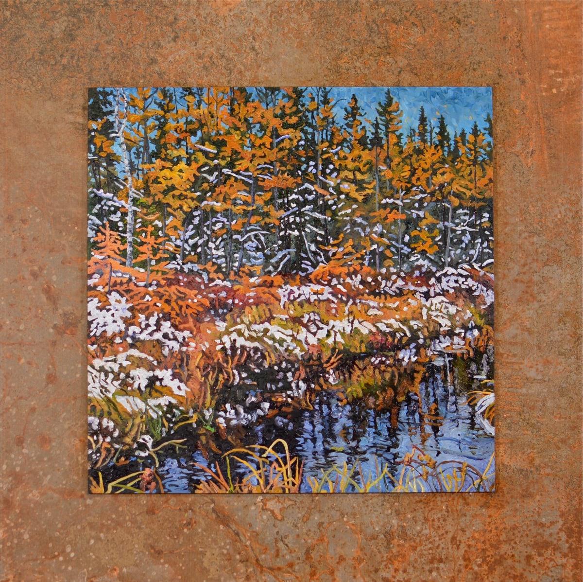 First Snow, North (Original on tile) by Ken Schneider