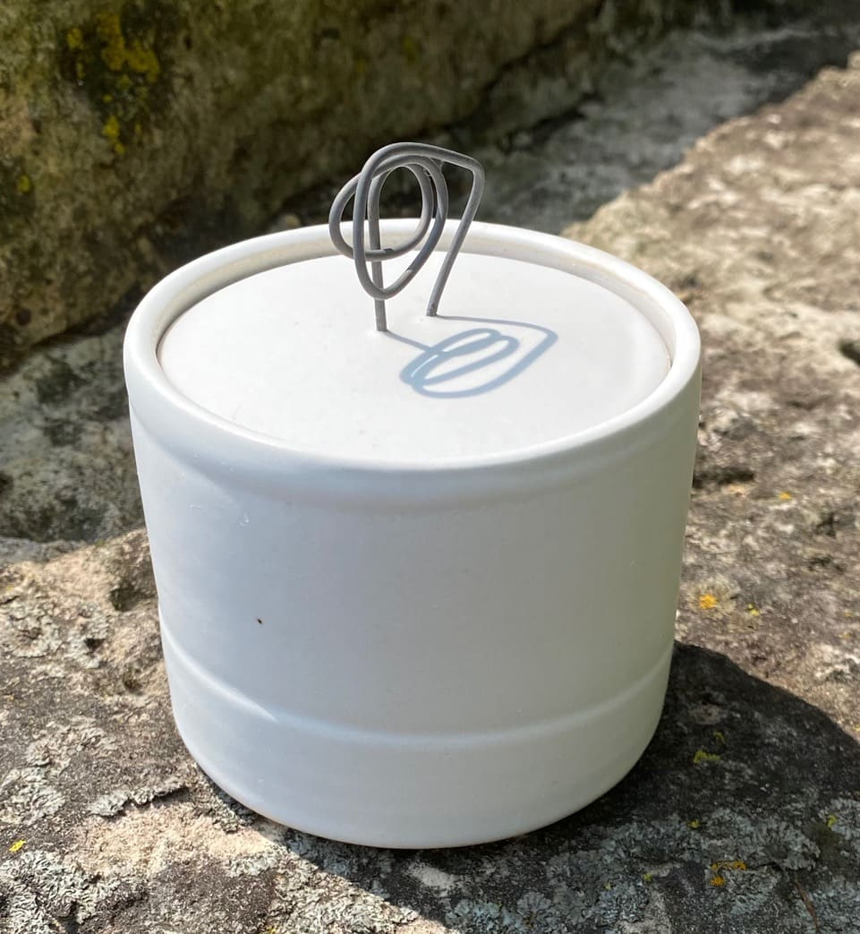 Covered Container with Wire Handle by Carol Naughton