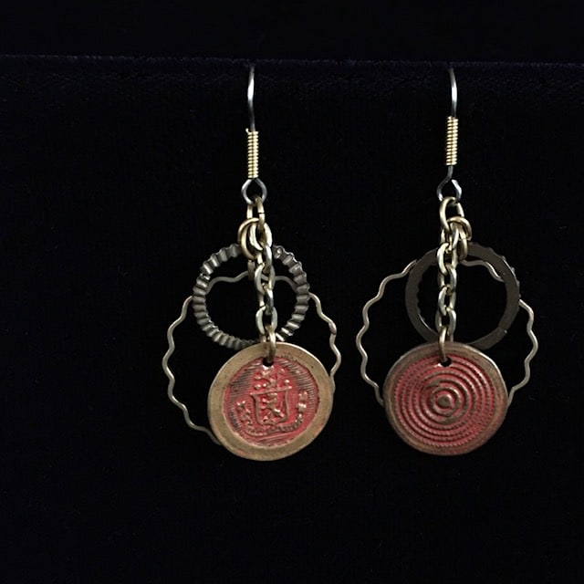 Smashed Button Red Earrings by Luann Roberts Smith