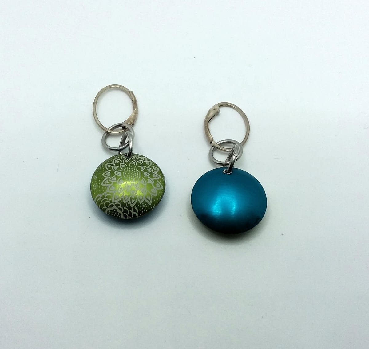 Blue/Green Aluminum Earrings by Judi Werner