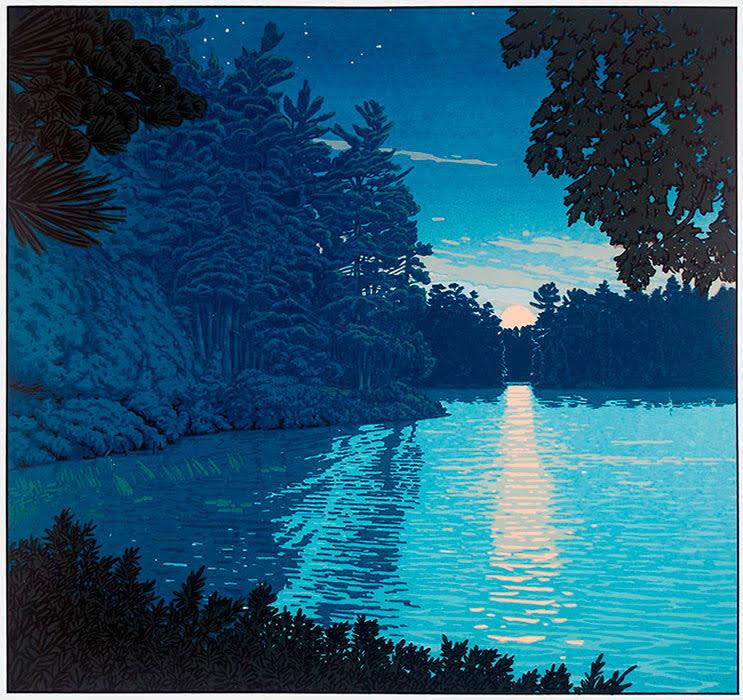 Moonrise on North Bay (Framed Screen Print) by John Miller