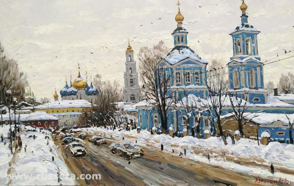 A Street in Sergiev-Posad by Vasily Kuraxa
