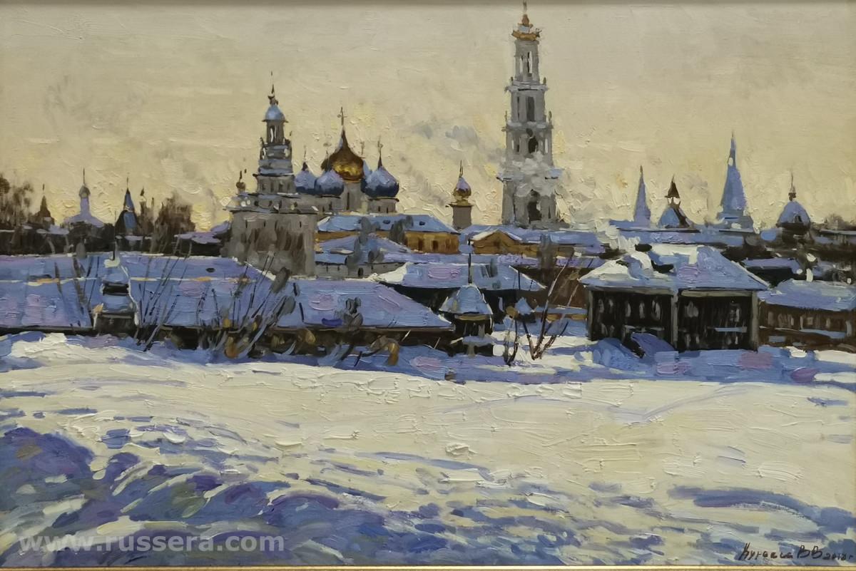 Lavra (Monastery). Frosty Day by Vasily Kuraxa