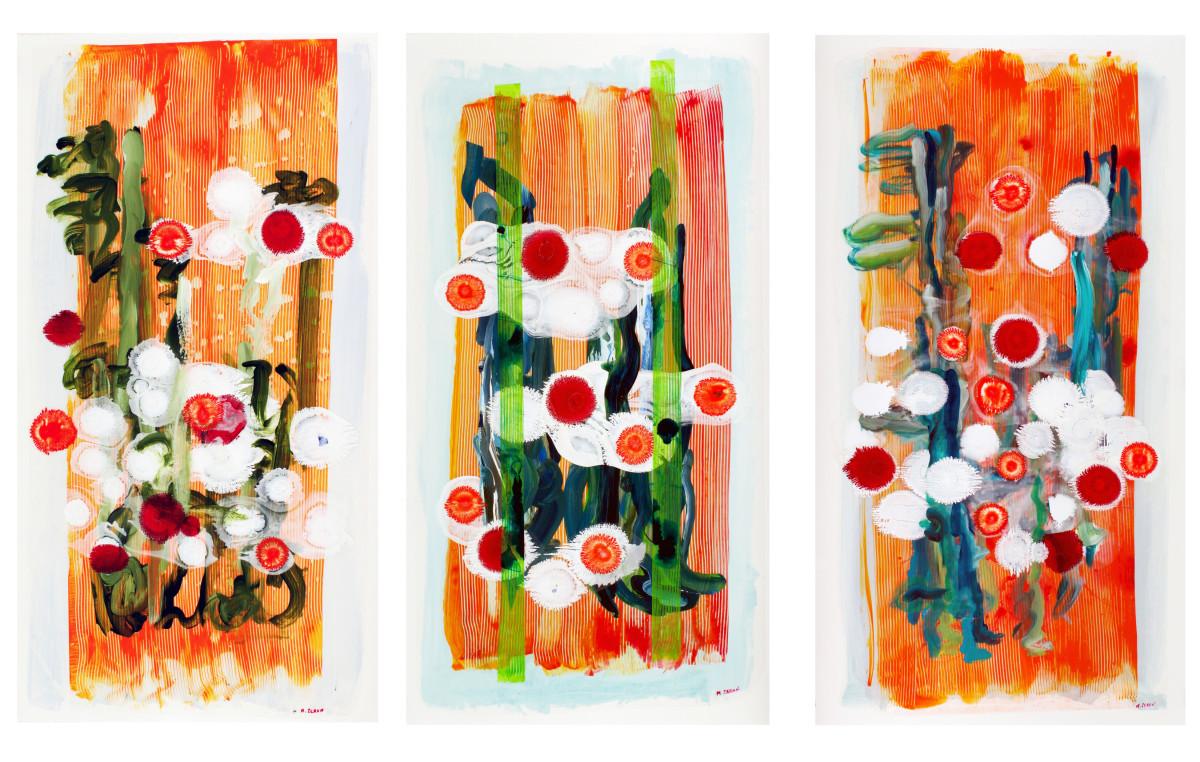 Orange Prairie Walk Triptych by Mary Zeran