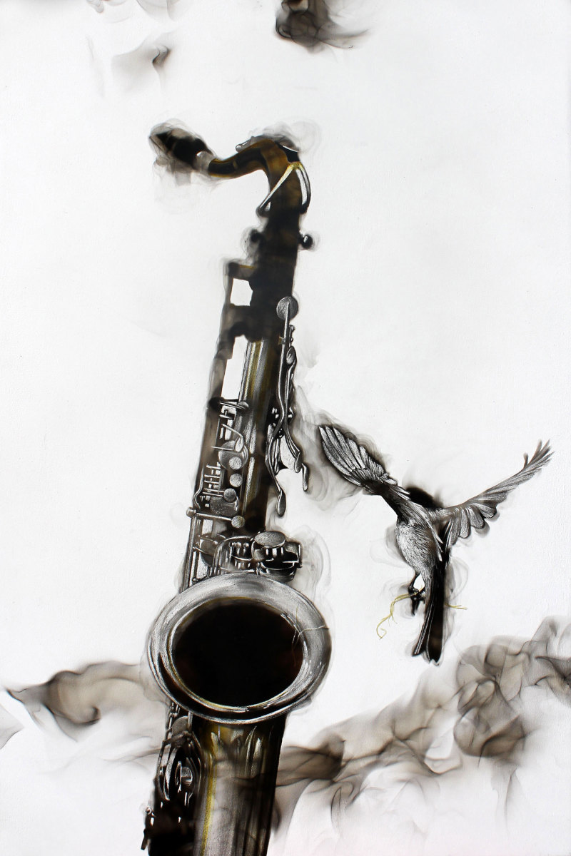 Smoky Saxophone by Steven Spazuk