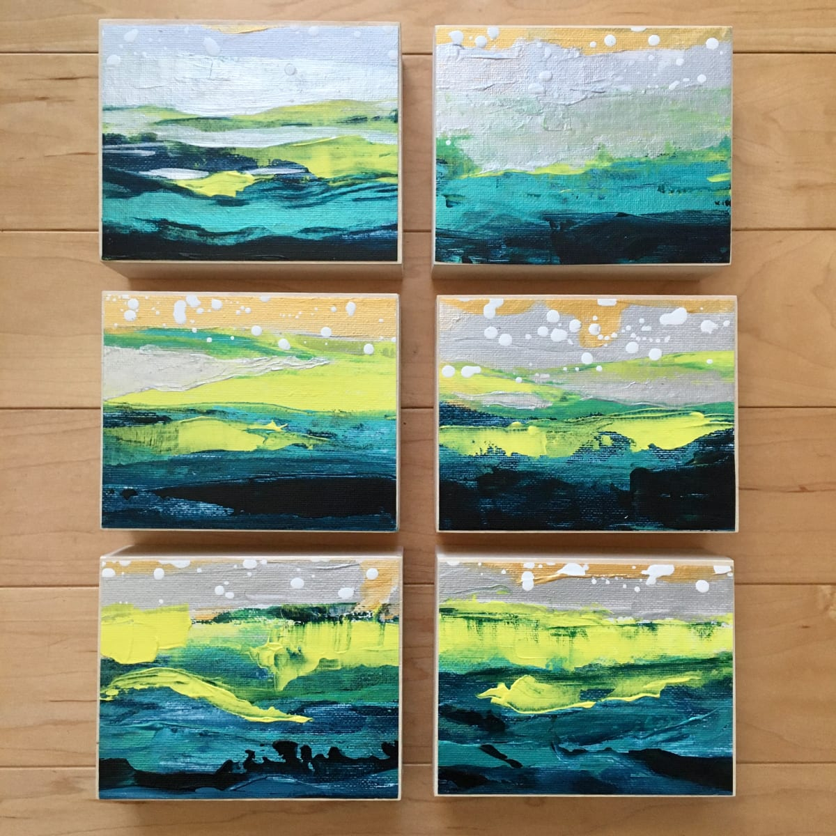 'Sun on the Ocean' Mini Paintings 1-2-3-4-5-6 by Julea Boswell