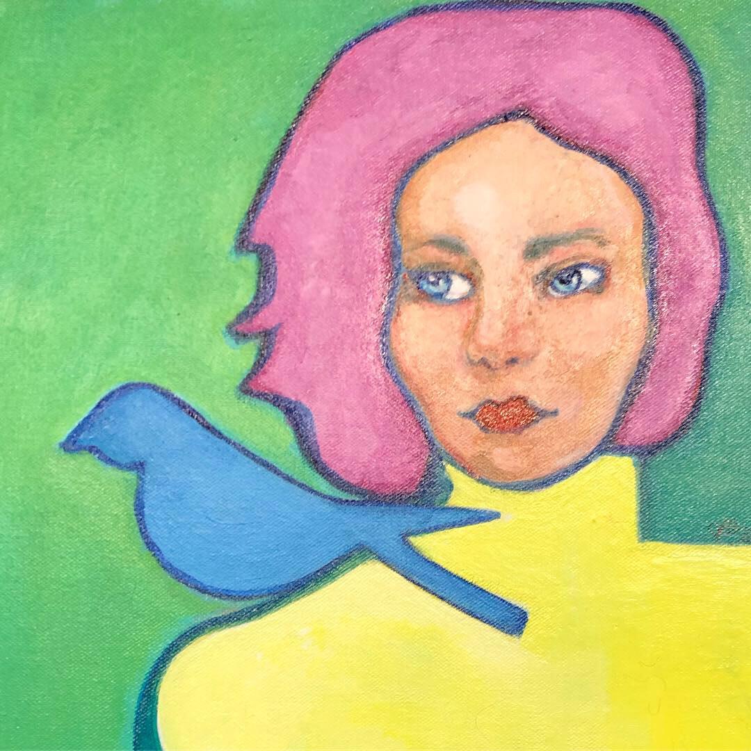 Woman with Blue Bird by Judith Estrada Garcia