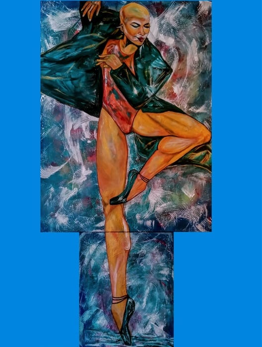 'On Pointe' depicts a female dancer freestyling on a city street with a colorful background showing movement. by Juanita Towery