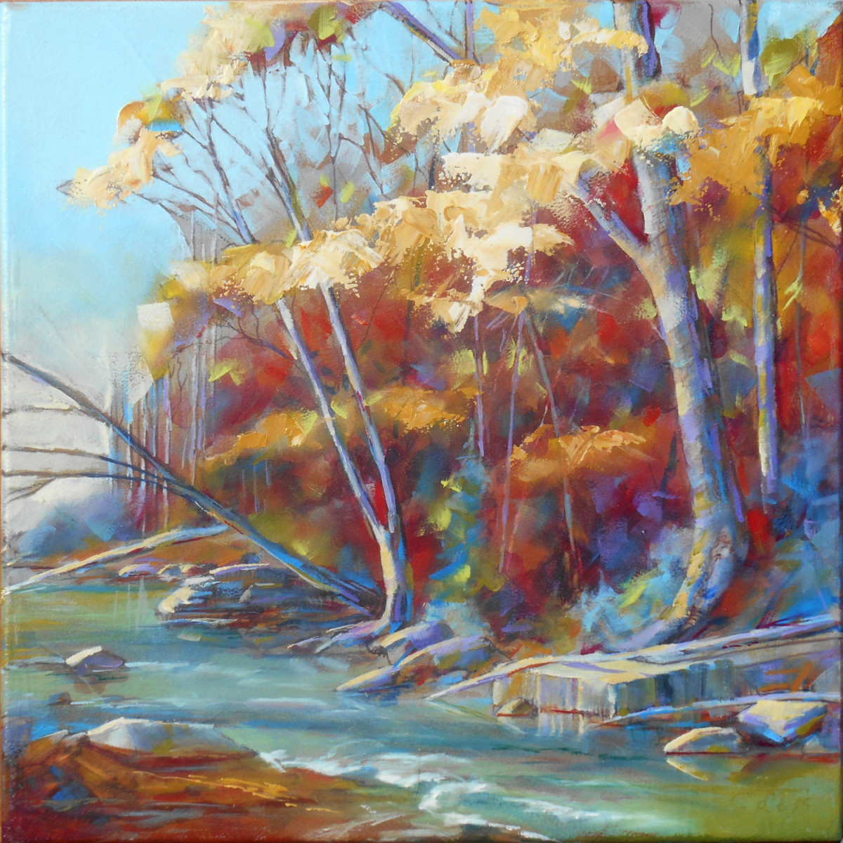 Autumn on the Riverbank by Pat Cross