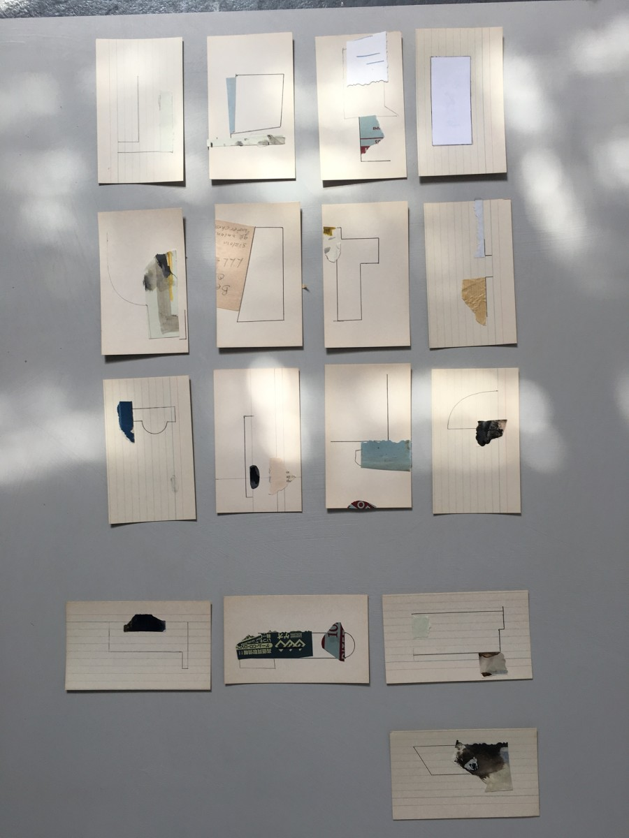 Small drawings on aged index cards / each by MaryAnn Puls