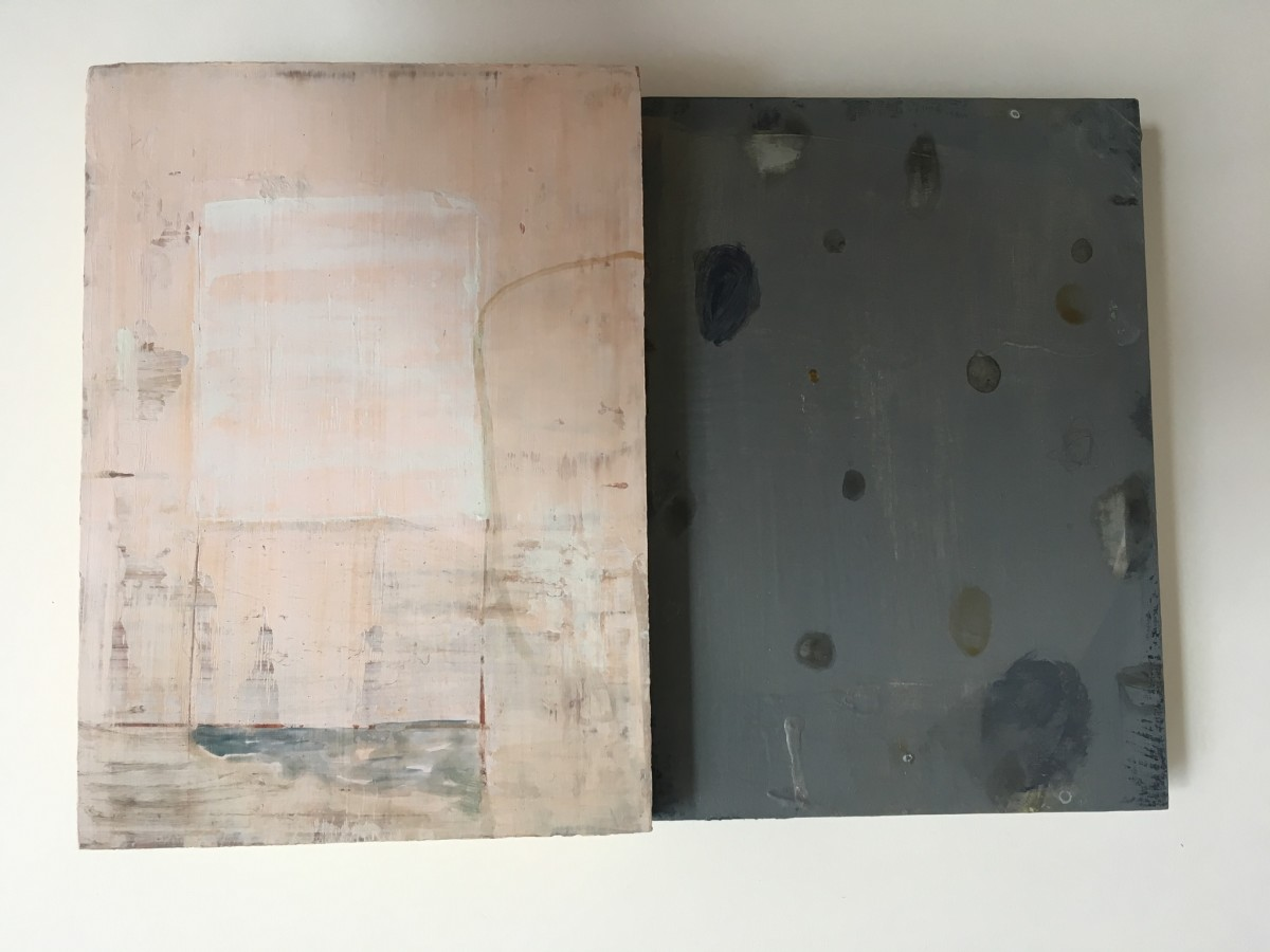 2 paintings - pink and grey