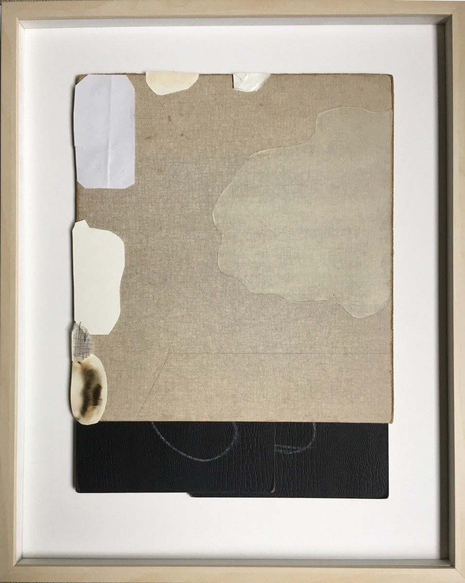 Aged and new papers with painted shape on right side by MaryAnn Puls