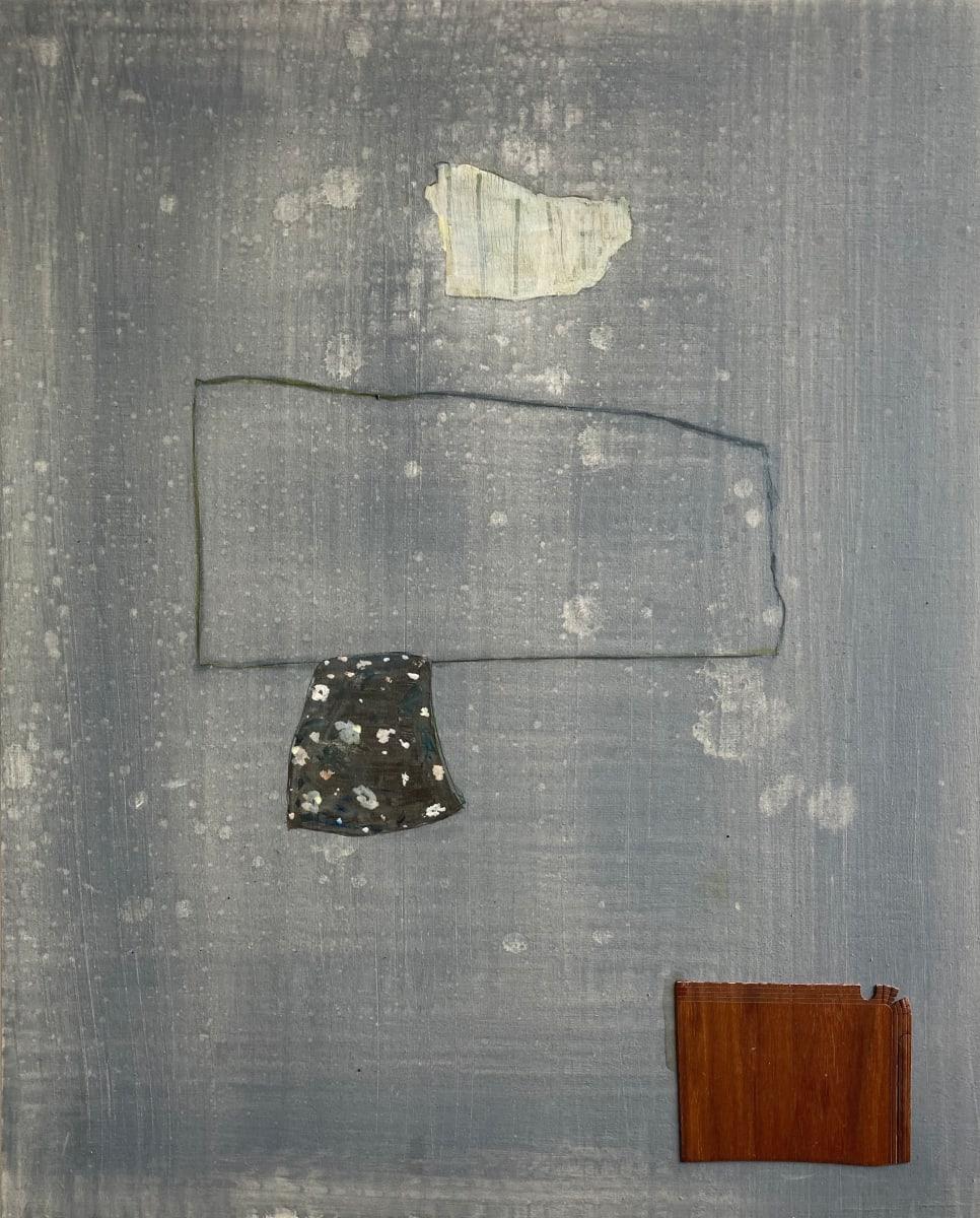Wood veneer on grey painting. by MaryAnn Puls