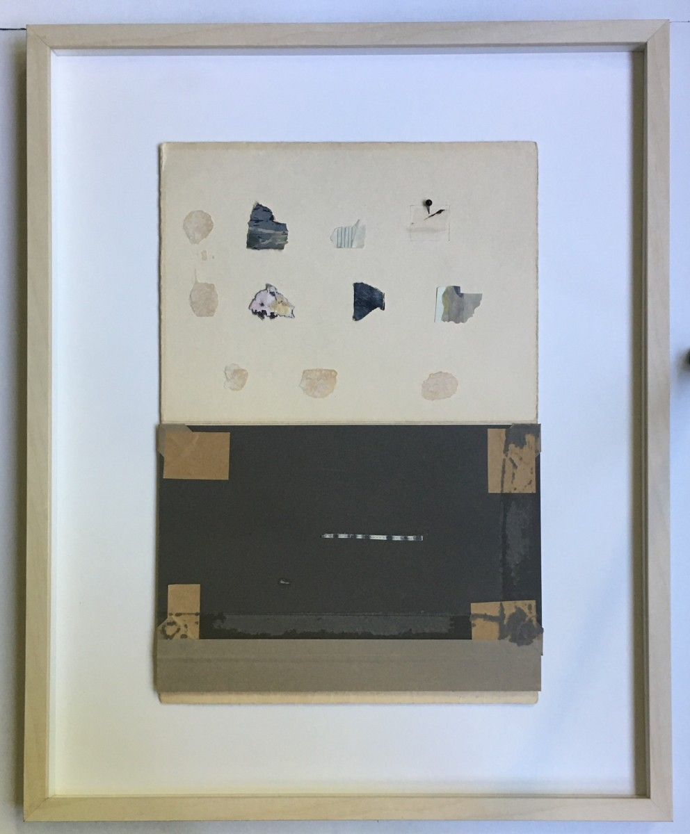 Detritus attached to aged paper in a grid formation by MaryAnn Puls