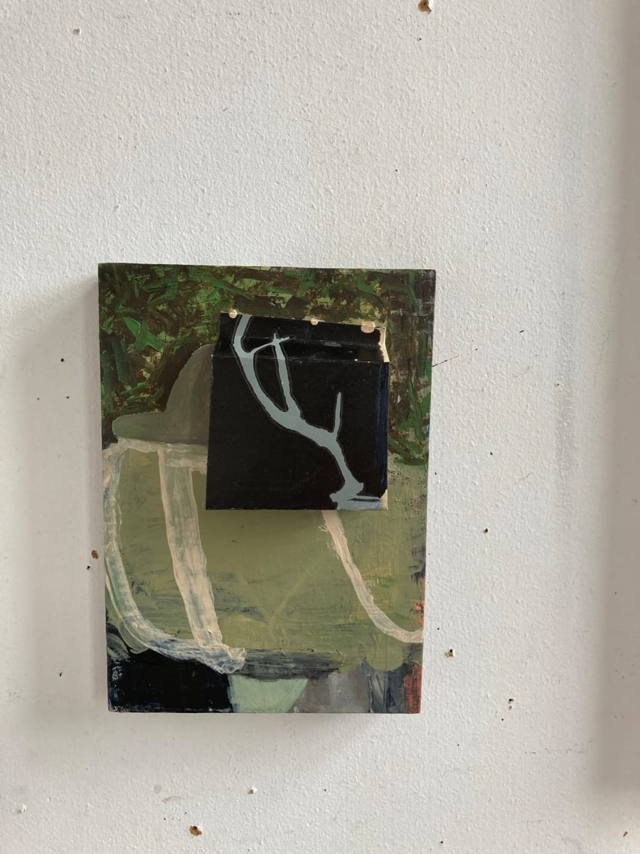 Paper with Image over Painting by MaryAnn Puls