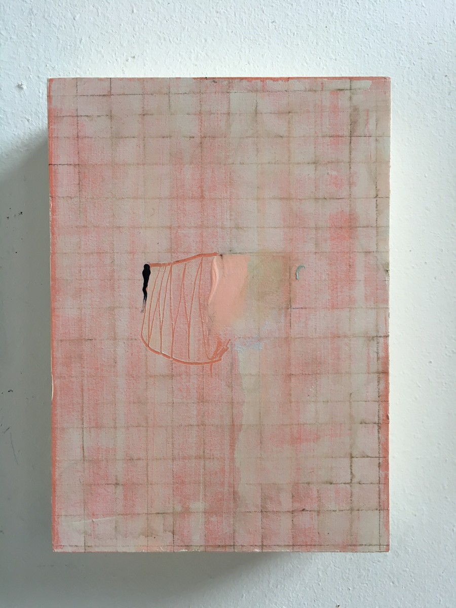 Small painting with pink grid by MaryAnn Puls