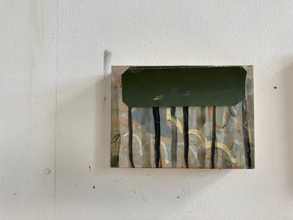 Green Paint Chip over Vertical Lines by MaryAnn Puls