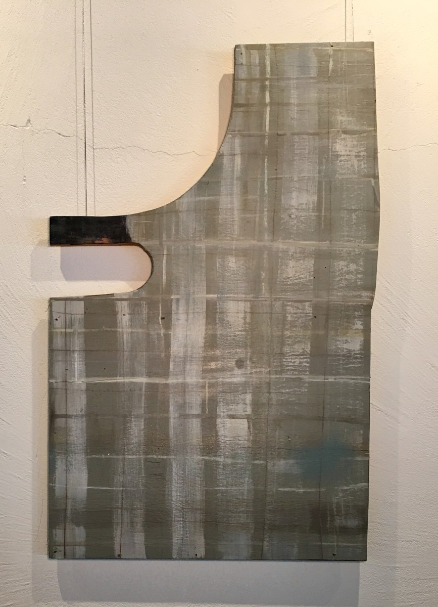 Wood shape with horizontal and vertical lines in gray green by MaryAnn Puls
