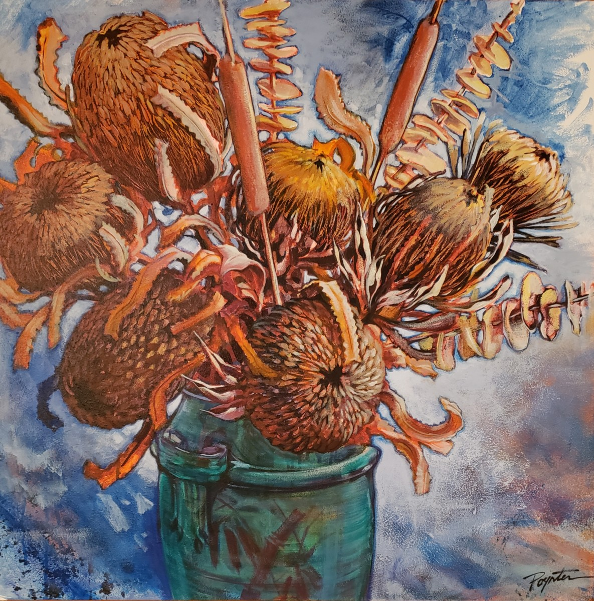 Banksia, Protea & Pottery #1# by Jan Poynter