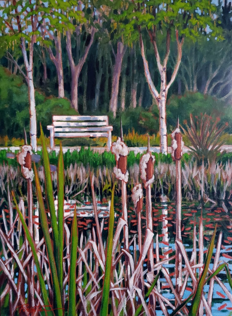 Pond bench. Rushes.
