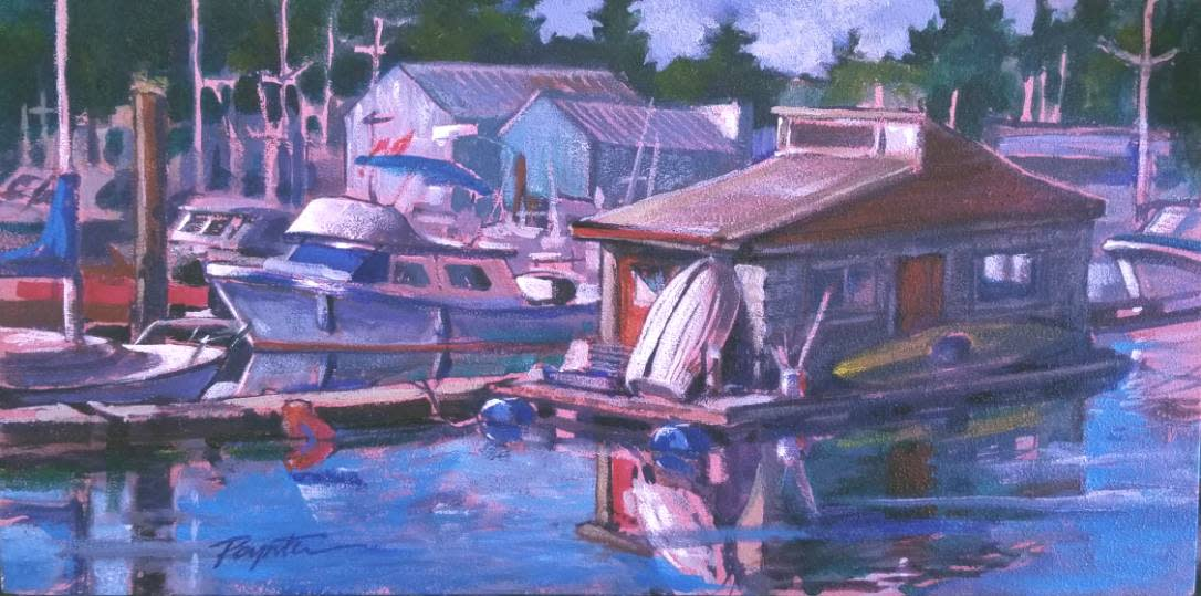 """Red doors - Blue floats"" Gibsons Landing"