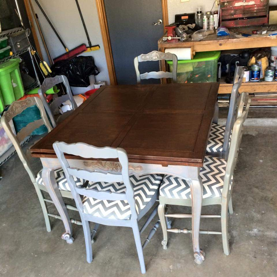 Antique convertible table-gray/hickory by Heather Medrano