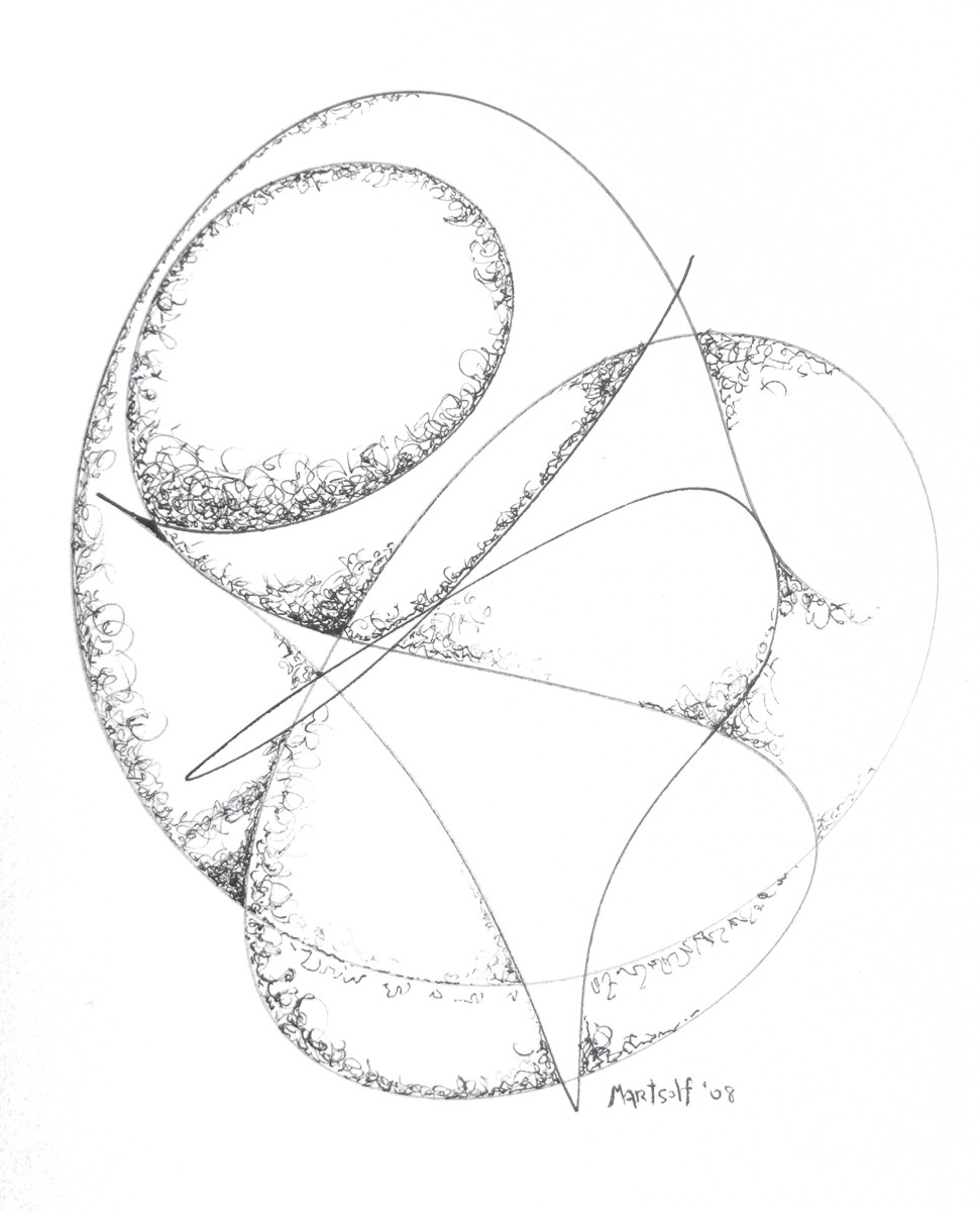 """Polished Convolutions, the drawing that resulted in """"The Millennium Stone"""""""