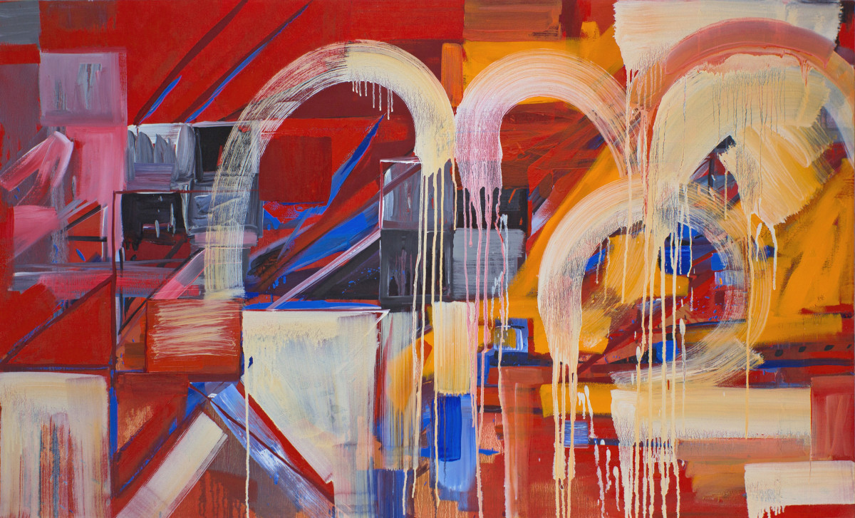 Abstract Study (orange on red)