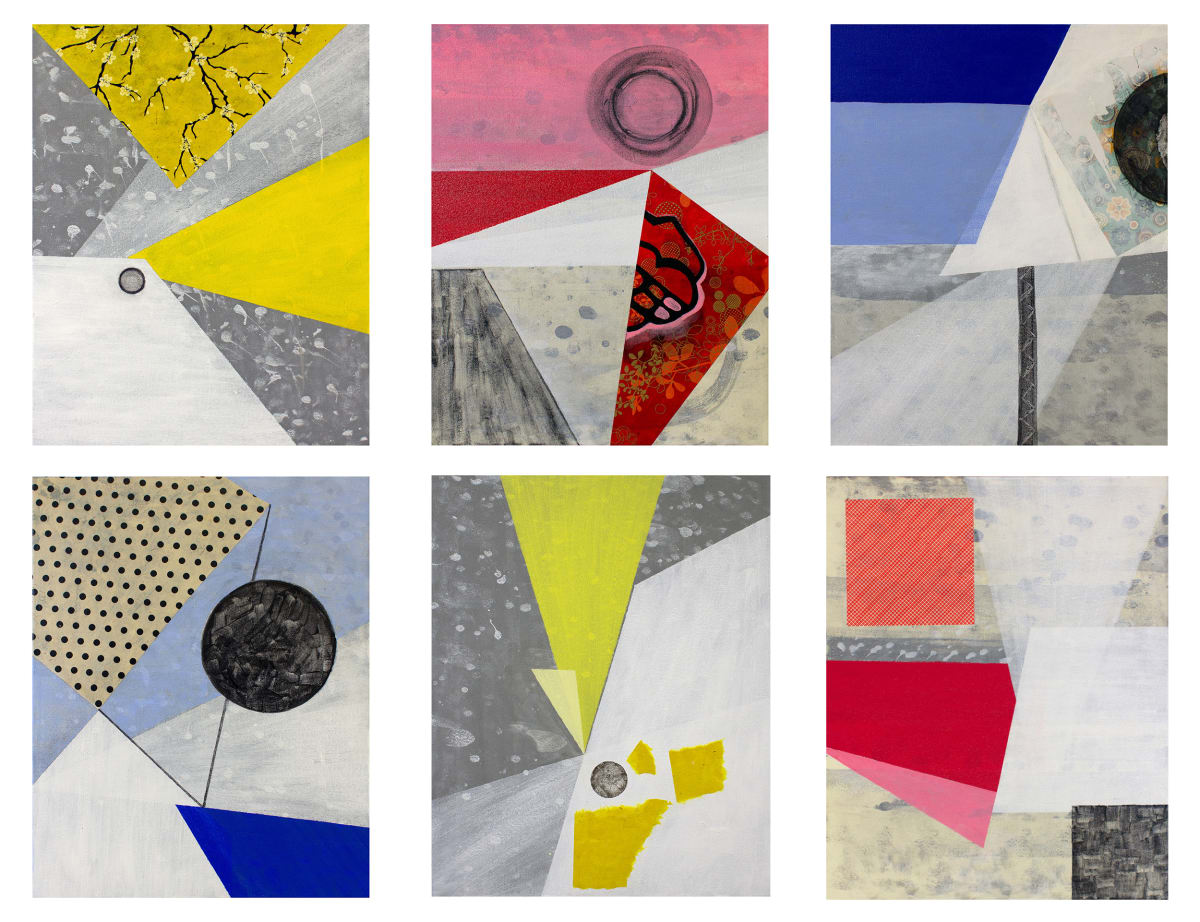 Abstract Interior (primary colors) -- grid of 6 by Pamela Staker
