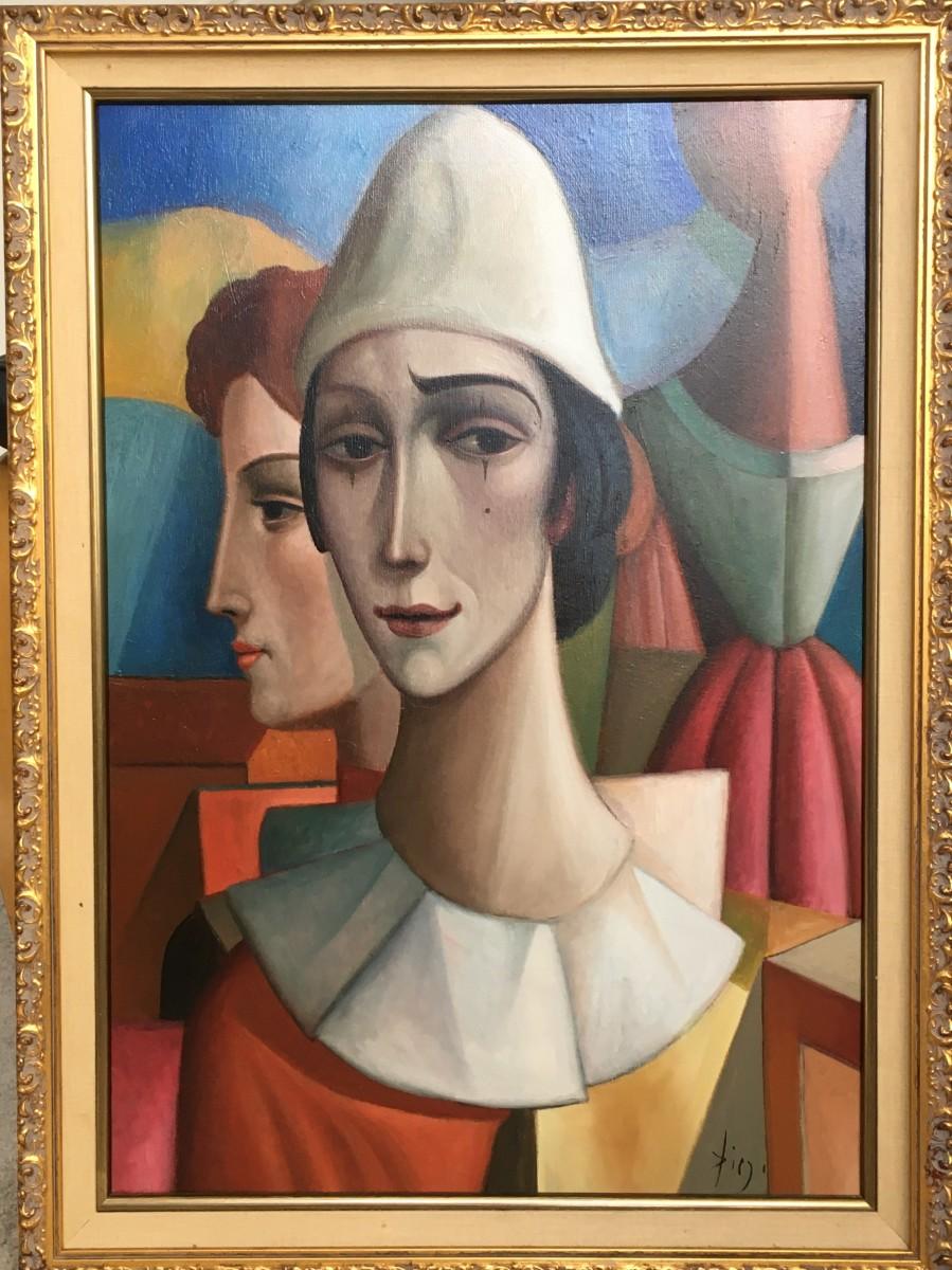"""L' Arlequin Triste"" by Antonio Diego Voci Complete w/ Book where Artwork is featured"