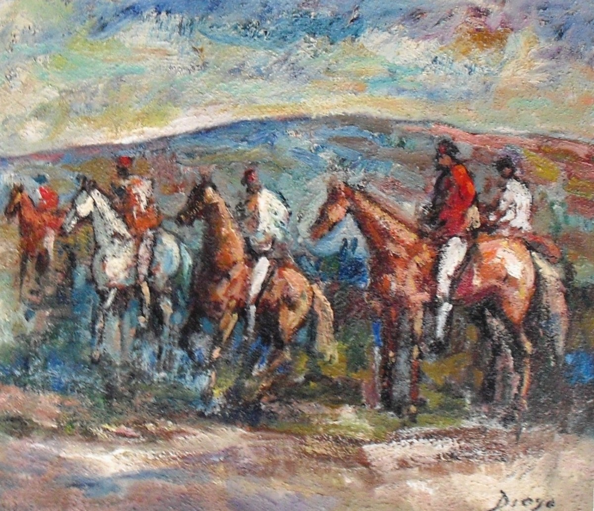 """""""Horses and Riders on a Hunt"""" #C59 by Antonio Diego Voci by Antonio Diego Voci  Image: Horses and Riders on a Hunt by DIEGO"""