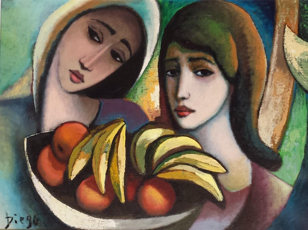 """Women with Bananas"" by Antonio Diego Voci #C97 by Antonio Diego Voci"