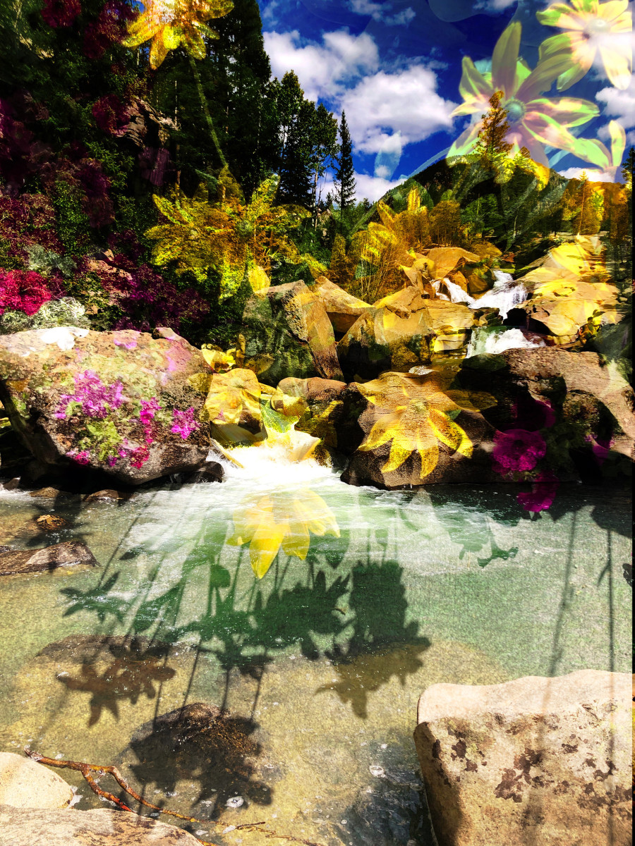 The Grottos with Flowers 2 by Bonnie Levinson