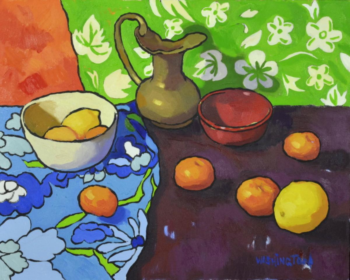 Tangerines & Lemons w/Brass Vase